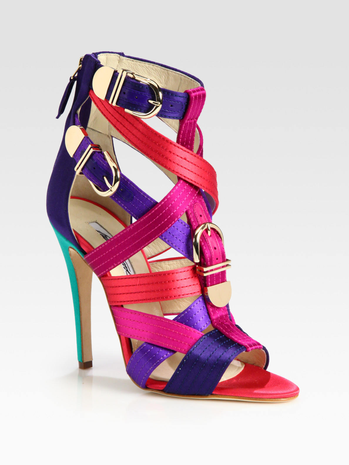 3a3deb34239 Lyst - Brian Atwood Strappy Multicolored Satin Buckle Sandals in Purple