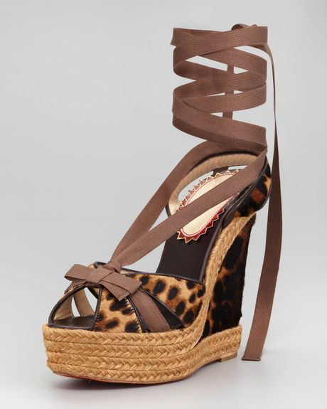 Christian Louboutin Isabelle Calf Hair Wedge in Brown (leopard) - Lyst