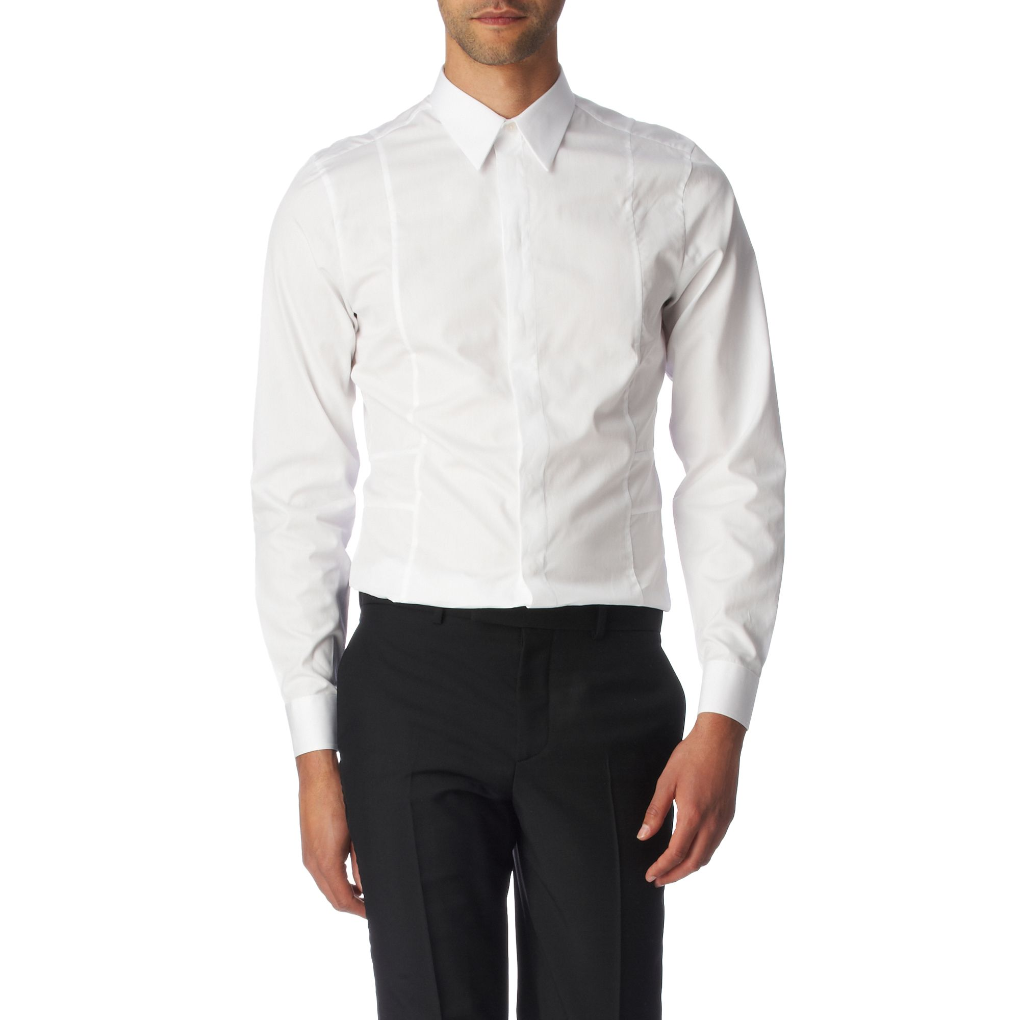 givenchy cut and sew slim fit single cuff shirt in white