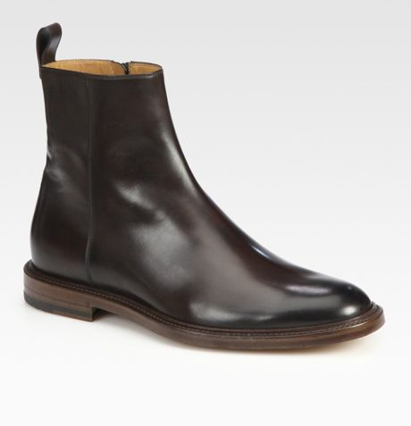 Gucci Cezanne Leather Bootie in Brown for Men - Lyst