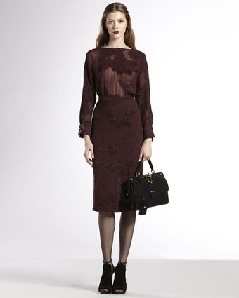 Gucci Deepv Sheer Silk Dress - Lyst