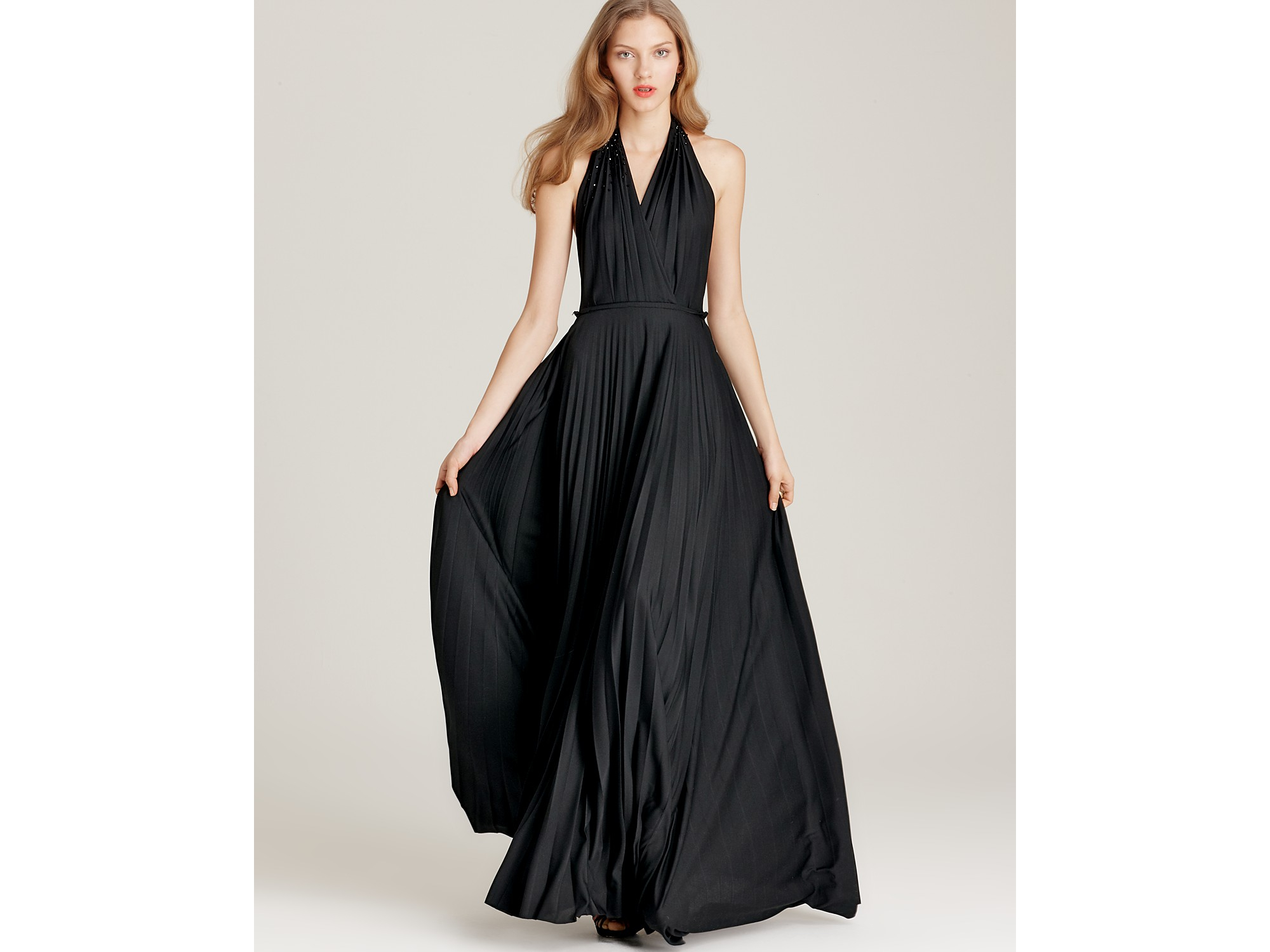 Halston halter dress pleated in black lyst for Halston heritage shirt dress