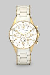 Marc By Marc Jacobs Silicone Rose Goldtone Ip Stainless Steel Chronograph Watch in Gold (white) - Lyst