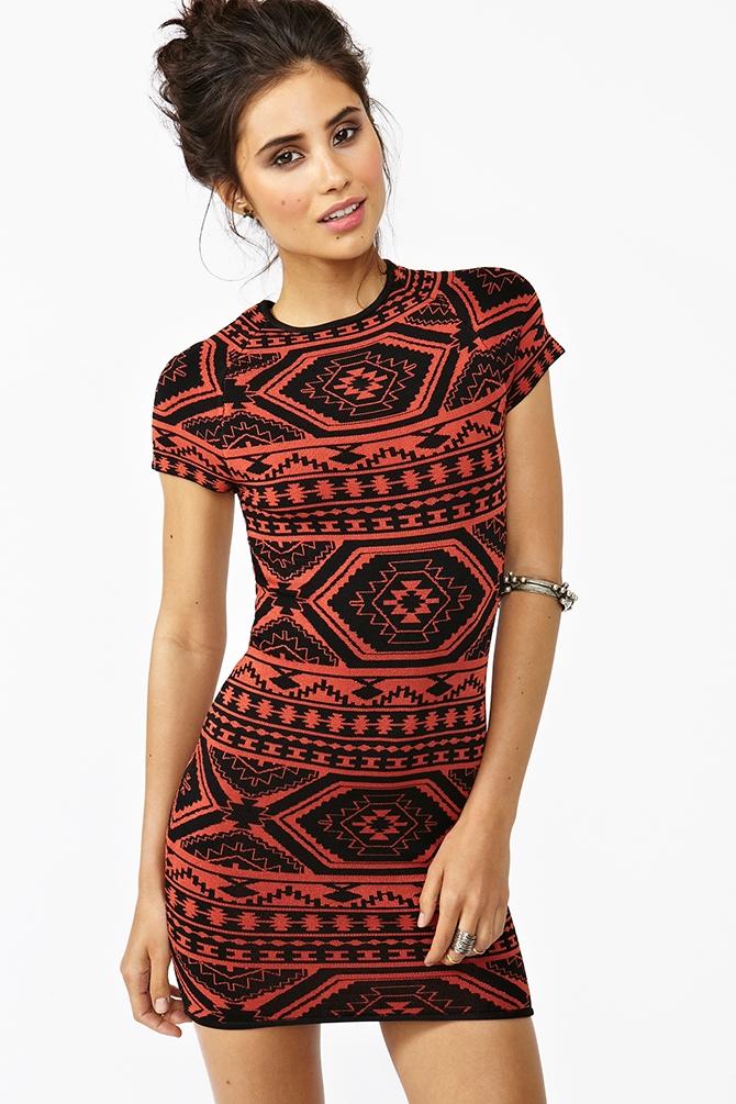 Lyst Nasty Gal Tribal Knit Dress In Orange