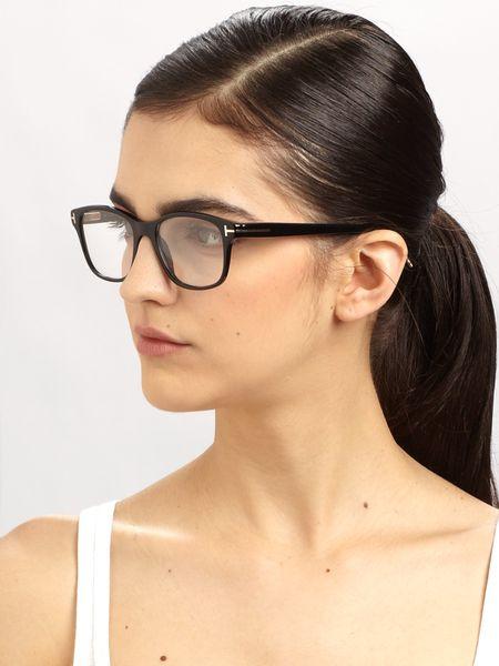 Tom Ford Wayfarer-Inspired Plastic Eye Glasses in Black