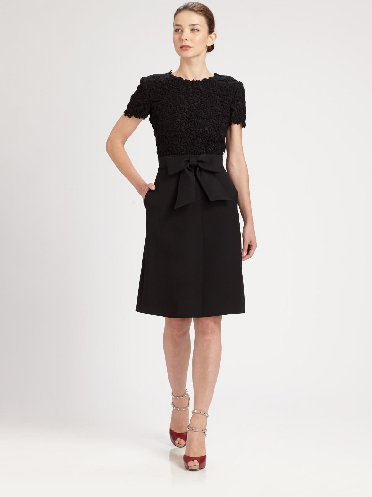 Valentino Lace Bodice Dress In Black Lyst