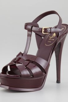 Yves Saint Laurent Patent Leather Tribute Sandal - Lyst