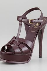 Saint Laurent Patent Leather Tribute Sandal - Lyst