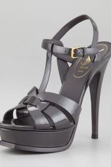 Yves Saint Laurent Tribute Patent Leather Sandal Light Gray - Lyst