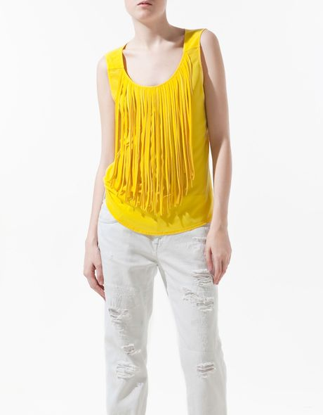 Zara Yellow Viscose Blouse 69