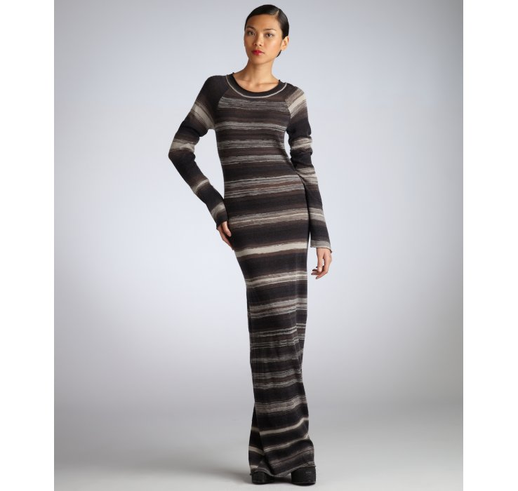 A.l.c. Stripe Wool Long Sleeve Maxi Dress in Black | Lyst