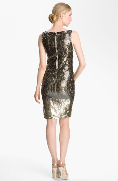 Alice Olivia Baia Ombr 233 Sequin Dress In Gold Nude Lyst