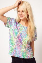 ASOS Collection Asos Embellished Tshirt with Printed Sequins - Lyst