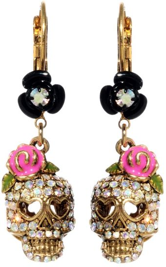 Betsey Johnson Crystal Skull and Flower Drops - Lyst
