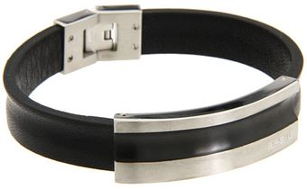 Breil Cave Leather Bracelet with Black Ip Tag - Lyst