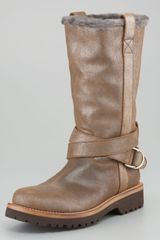 Brunello Cucinelli Metallic Suede Boot - Lyst