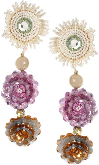 Danielle Scutt Three Flower Drop Earrings - Lyst