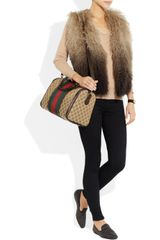 Gucci Vintage Web Boston Monogrammed Canvas Tote in Brown (beige) - Lyst