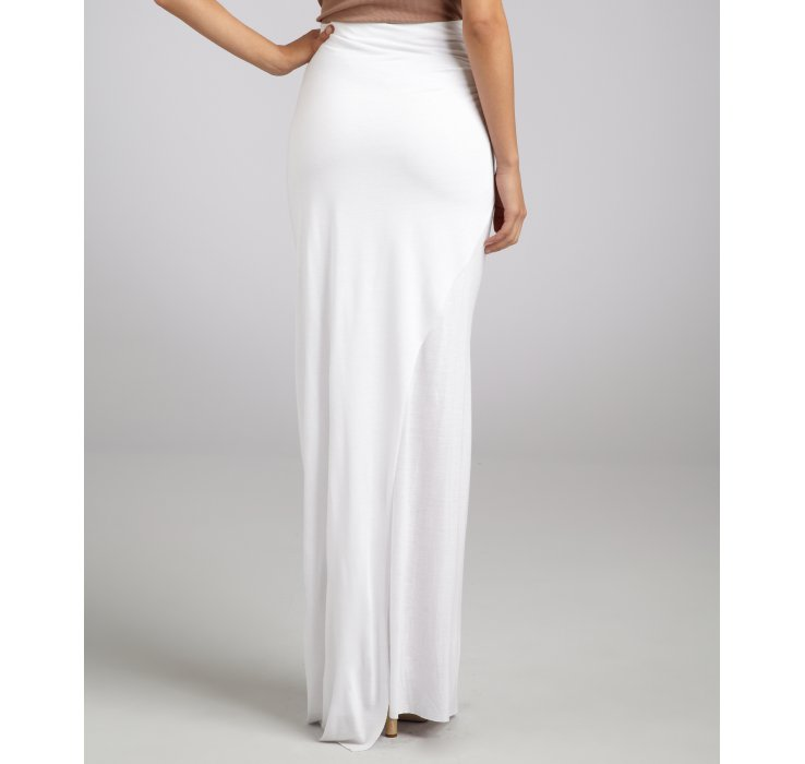 Helmut lang White Jersey Twist Side Slit Maxi Skirt in White | Lyst