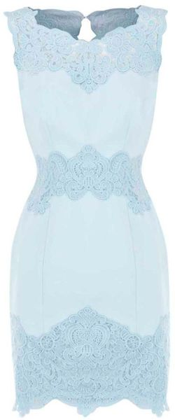 Karen Millen Heavy Cotton Lace Collection Dress in Blue (aqua) - Lyst
