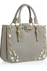 Miu Miu Crystal Embellished Studded Leather Tote in Gray (taupe) - Lyst