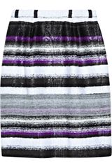 Oscar De La Renta Striped Tweed Skirt in Purple - Lyst