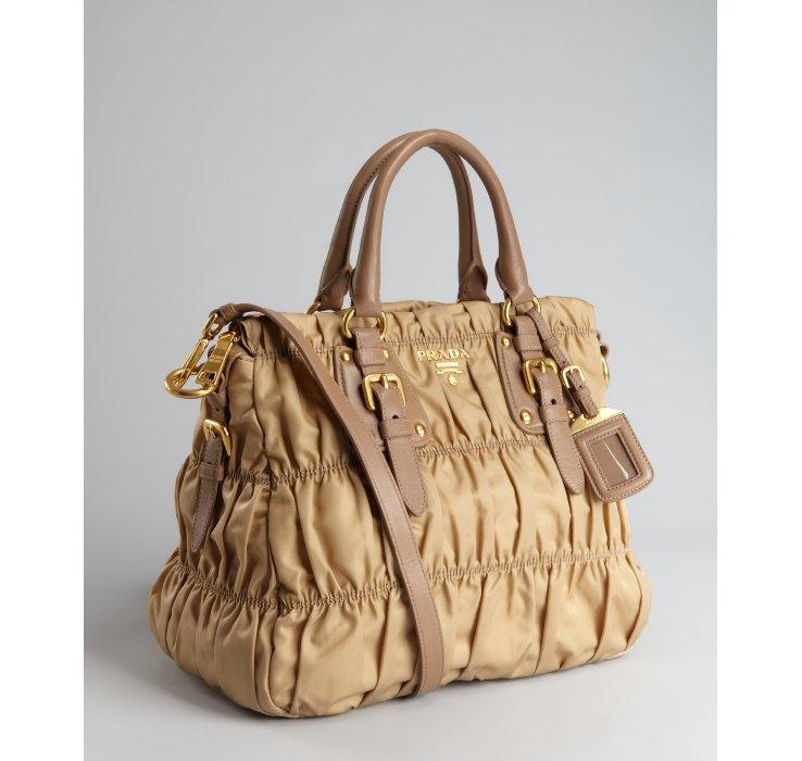 53edd9756fa ... low cost prada tessuto gaufre nylon top handle bag grey lyst prada  camel nylon gauffre ruched