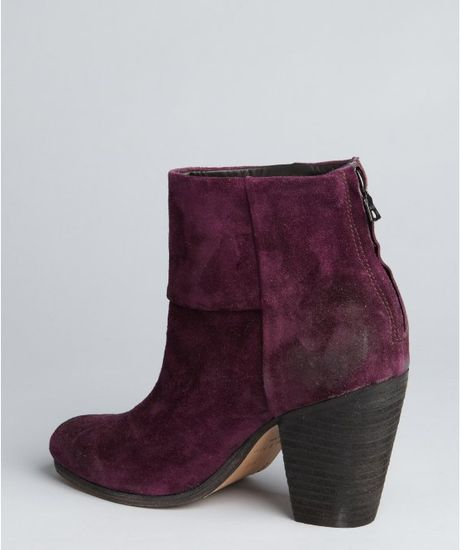 Rag Amp Bone Plum Suede Newbury Ankle Boots In Purple Plum
