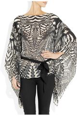 Roberto Cavalli Printed Silk Chiffon Top in Gray (white) - Lyst