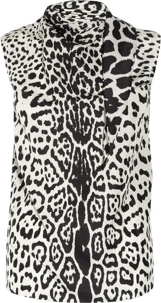 Yves Saint Laurent Leopard Print Silk Crepe De Chine Top in Animal (leopard) - Lyst