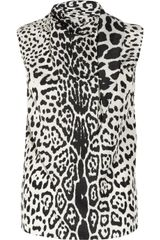 Yves Saint Laurent Leopard Print Silk Crepe De Chine Top - Lyst