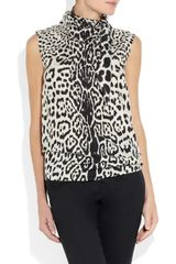 Saint Laurent Leopard Print Silk Crepe De Chine Top in Animal (leopard) - Lyst
