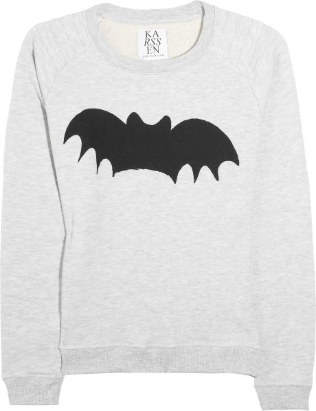 Zoe Karssen Bat Cottonblend Jersey Sweatshirt in Gray - Lyst