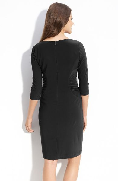 Adrianna Papell Ruched Matte Jersey Sheath Dress In Black