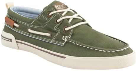 Bass Oliver Canvas Moc Toe Oxfords In Green For Men | Lyst
