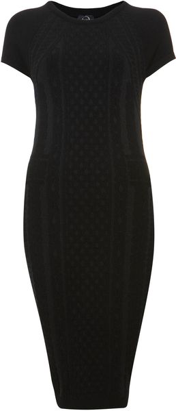 Black Cable Knit Brocade Dress - Lyst