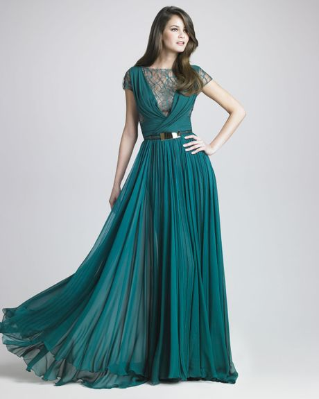 Elie Saab Lattice Chiffon Gown in Blue (forest) - Lyst