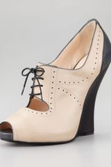 Giorgio Armani Peep Toe Laceup Oxford Wedge - Lyst