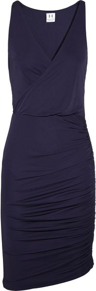 Halston Heritage Wrapeffect Ruched Jersey Dress in Blue (midnight)