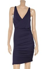 Halston Heritage Wrapeffect Ruched Jersey Dress in Blue (midnight) - Lyst