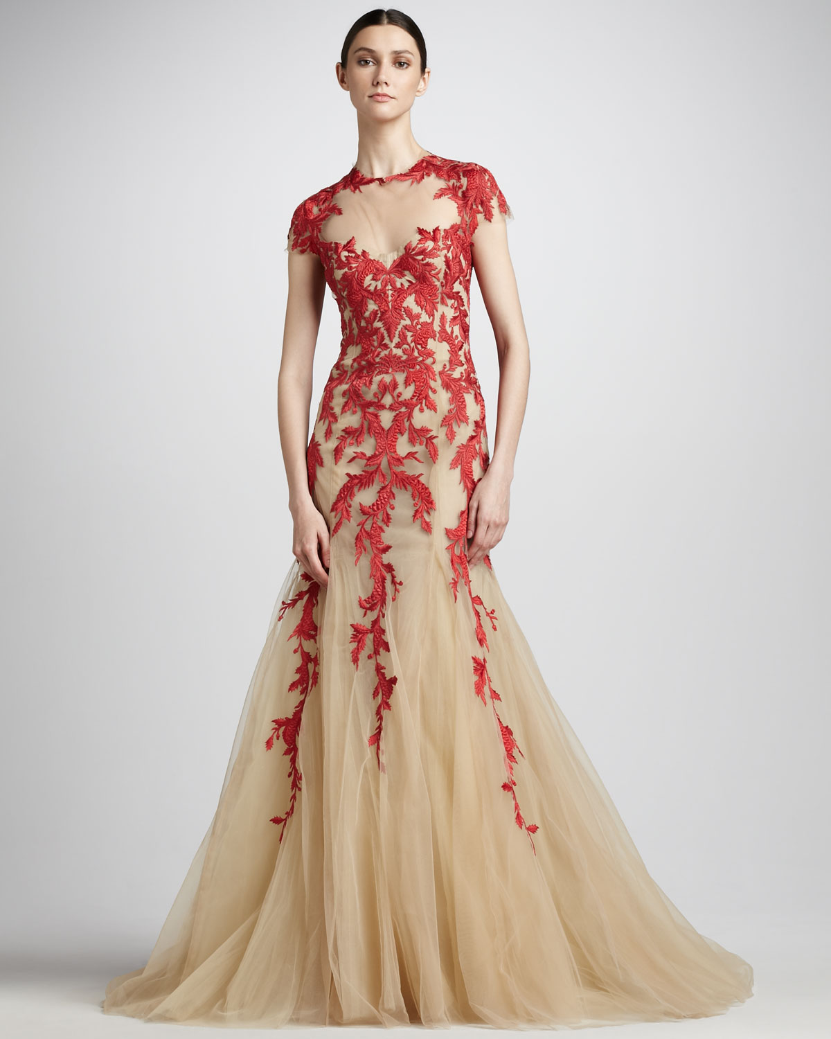 Non Traditional Red Wedding Dresses: Monique Lhuillier Embroidered Tulle Ballgown In Natural