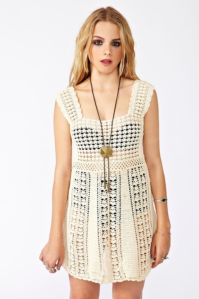 Nasty Gal Crochet Mini Dress In White Lyst