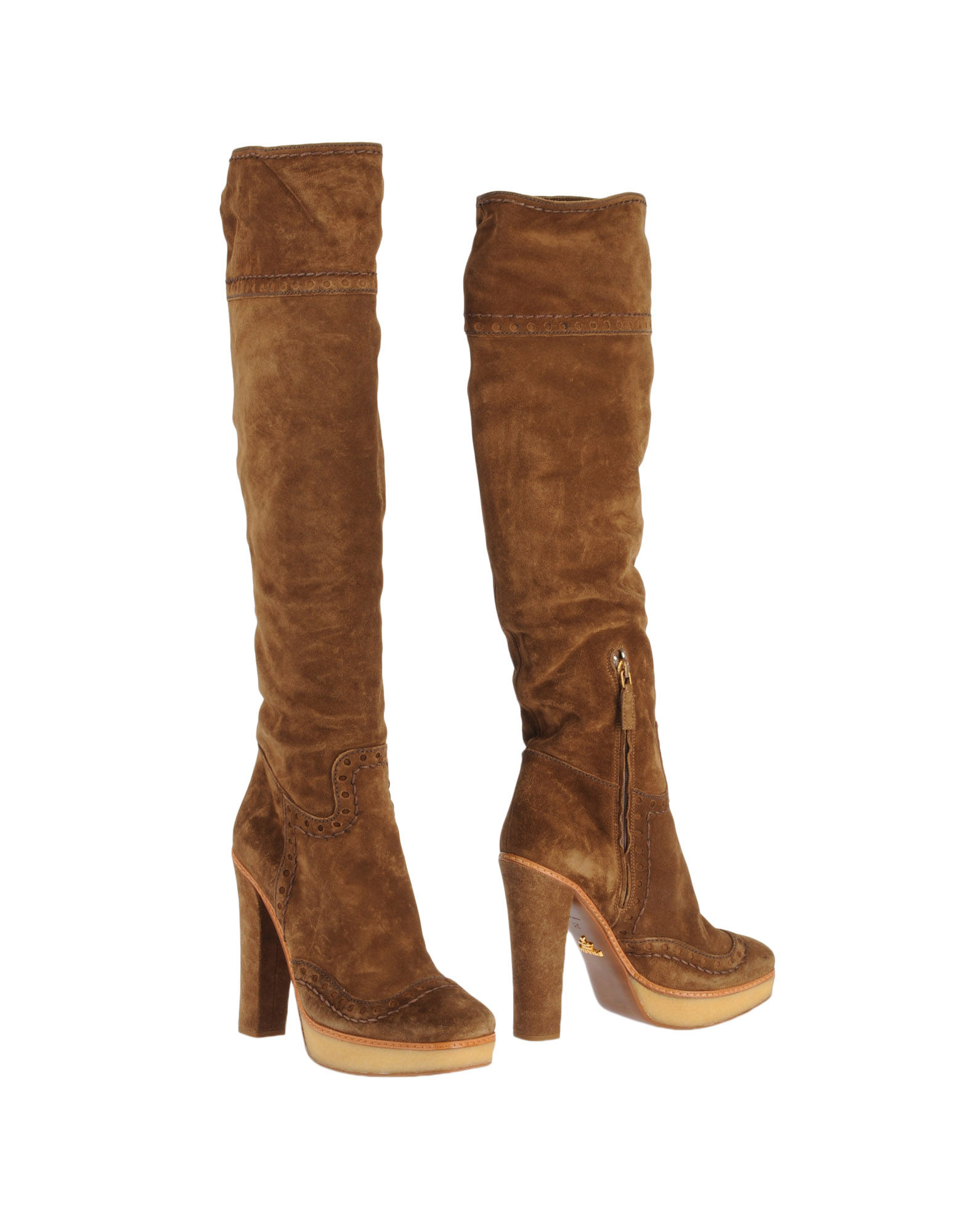 prada high heeled boots in brown lyst