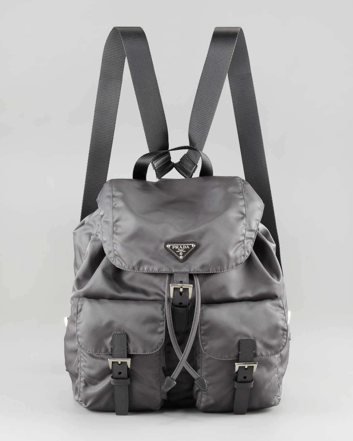 664f82b4b18561 ... cheapest lyst prada vela nylon backpack in gray bf849 e505b