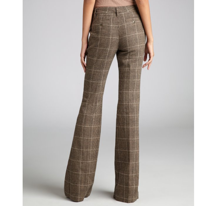 Rachel zoe Brown Plaid Wool Blend Flare Leg Pants in Brown | Lyst