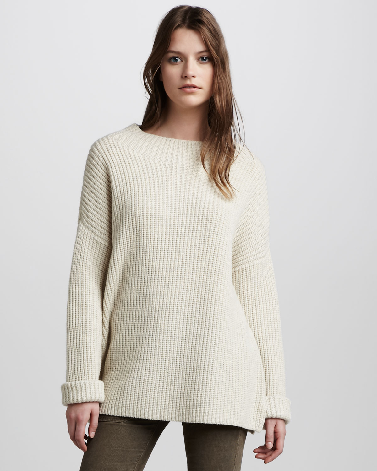 Vince Chunky Knit Sweater in Beige (ivory) | Lyst