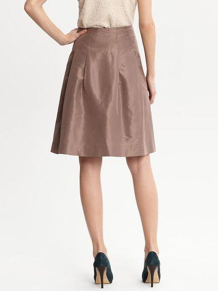 banana republic br monogram silk taffeta pleated skirt in brown  fairview taupe
