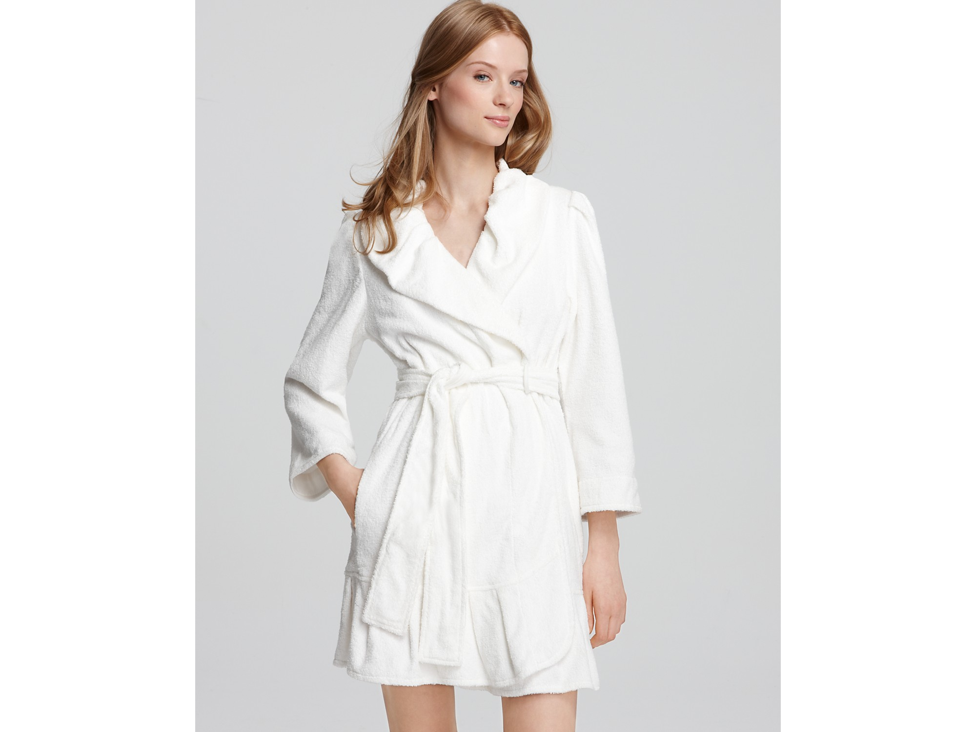 Betsey johnson loop terry mrs robe in white virgin white for Robes de mariage de betsey johnson