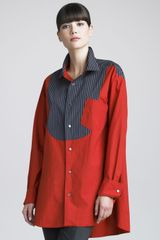 Donna Karan New York Reversible Poplin Blouse - Lyst