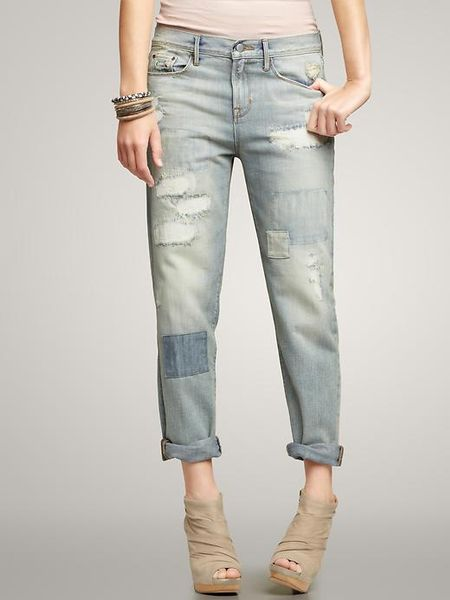 Gap Distressed Sexy Boyfriend Jeans in Gray (patch and repair) | Lyst